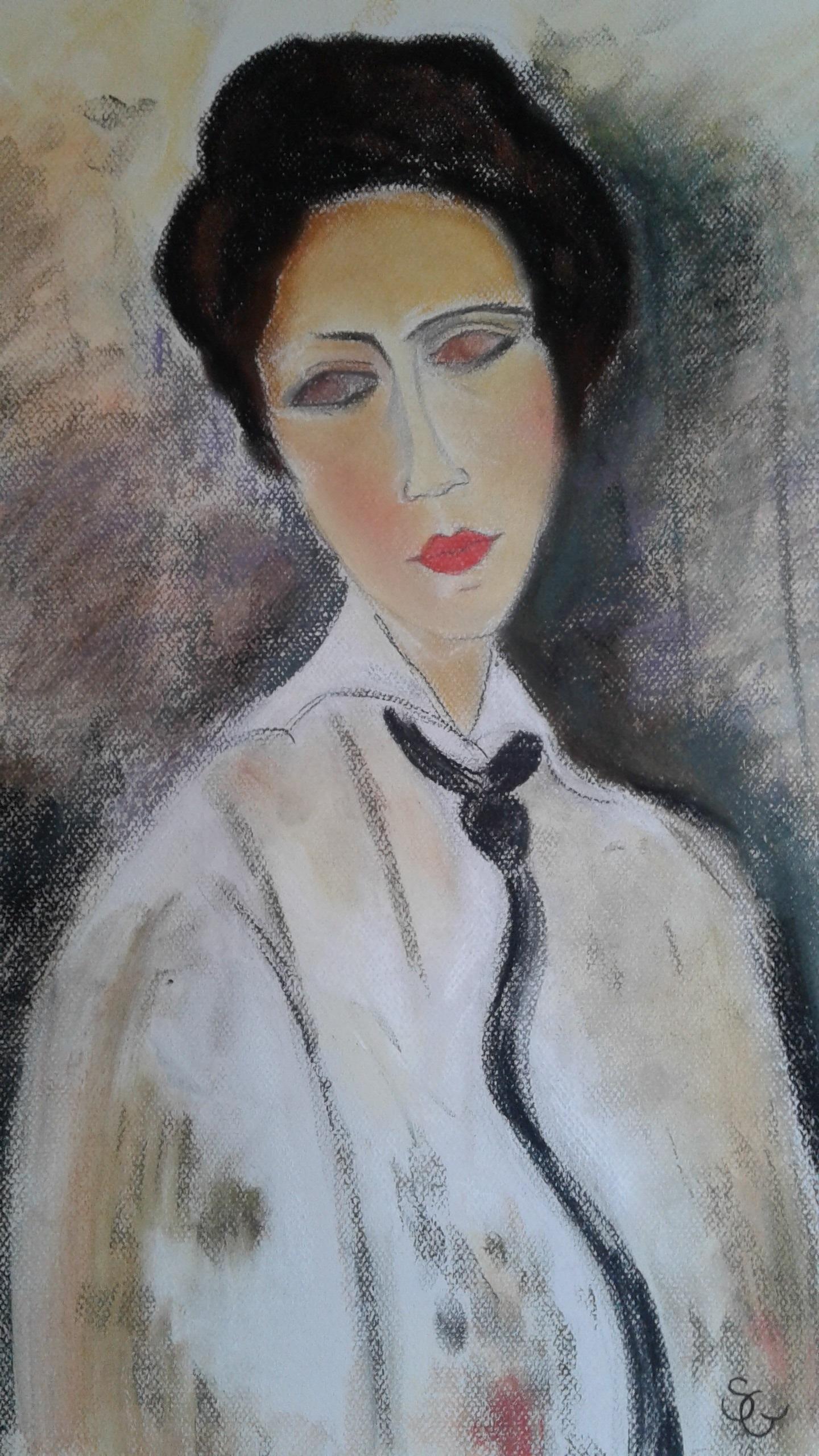 Copie -Femme à la cravate noire - MODIGLIANI - 430€ encadré