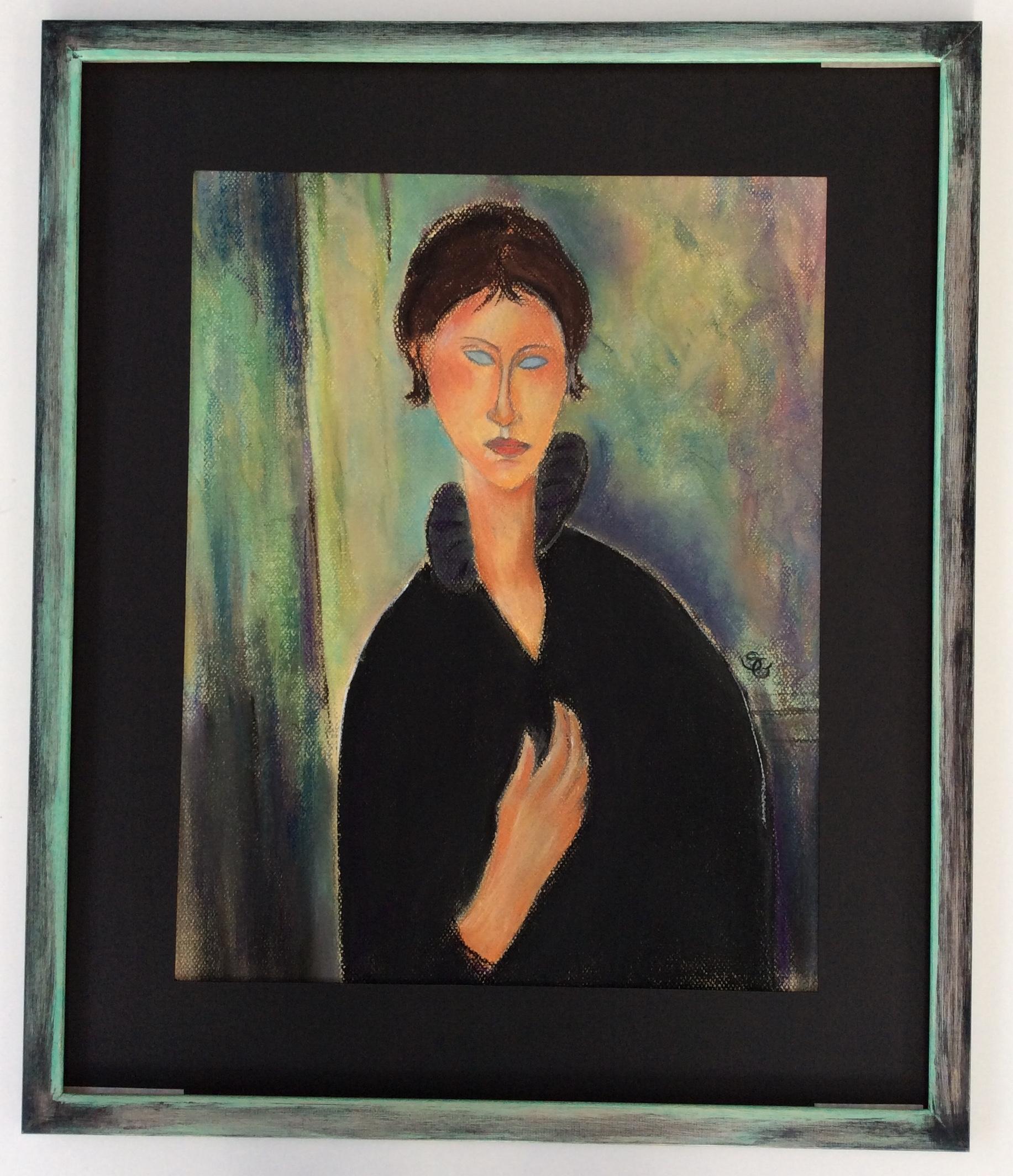 Copie -Femme aux yeux bleus - MODIGLIANI - VENDU 430€ encadré
