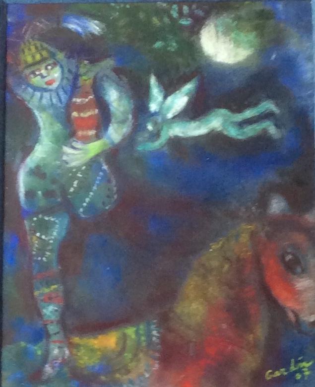 Copie -le cirque bleu     25X30 CM - 350€ encadré               - CHAGALL